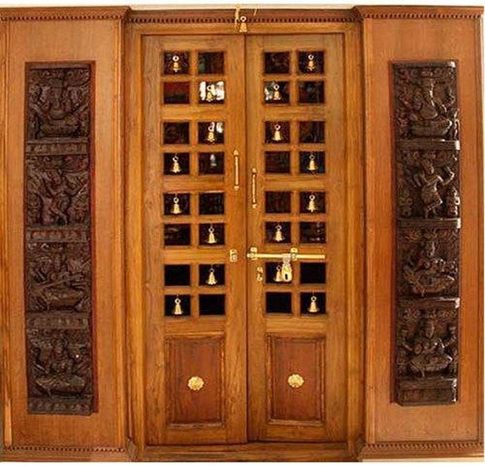 pooja room door designs bells