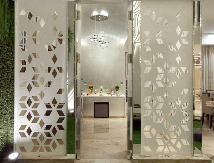pooja room door glass designs