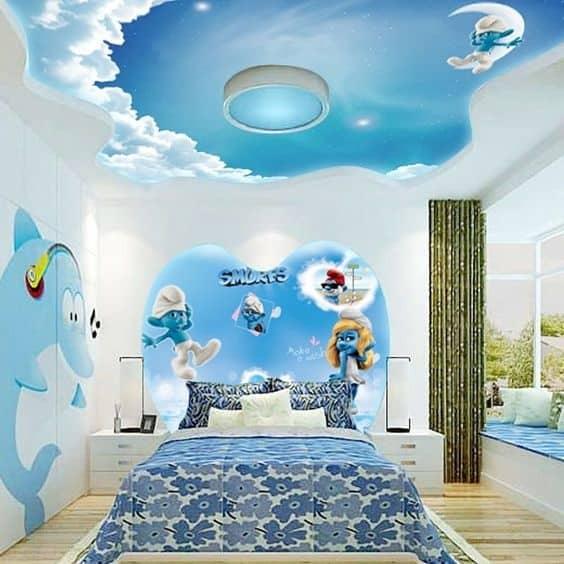 Kids Colored False Ceiling Theme