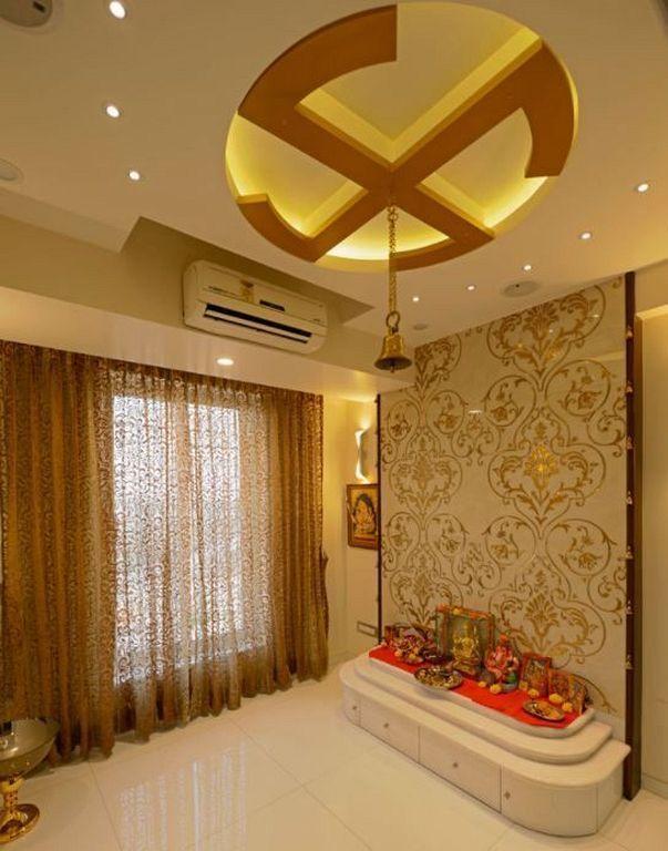 Modern pooja room false ceiling designs