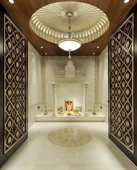 Simple pooja room false ceiling designs