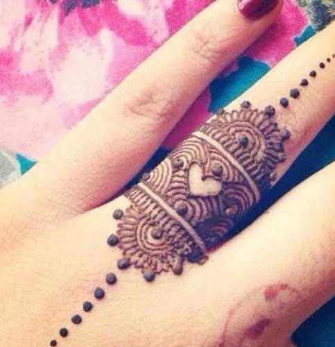 Cute Heart Styles Ring Mehndi Design
