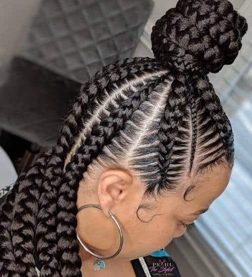 Easy Braided Hairstyles Bun for Black Hair