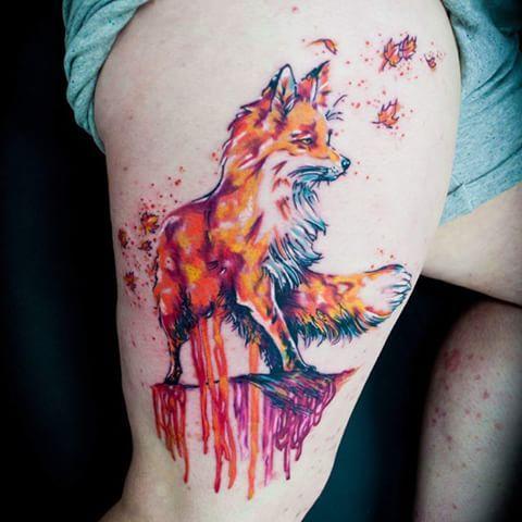 Dripping Watercolor Fox Tattoos