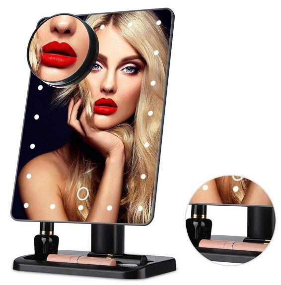 mirror with lights around it