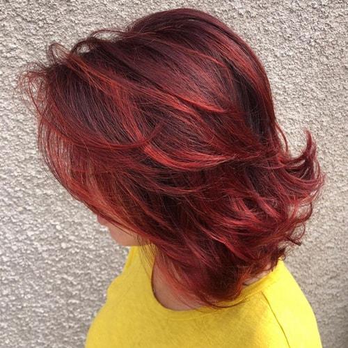Red Balayage on Medium Hair