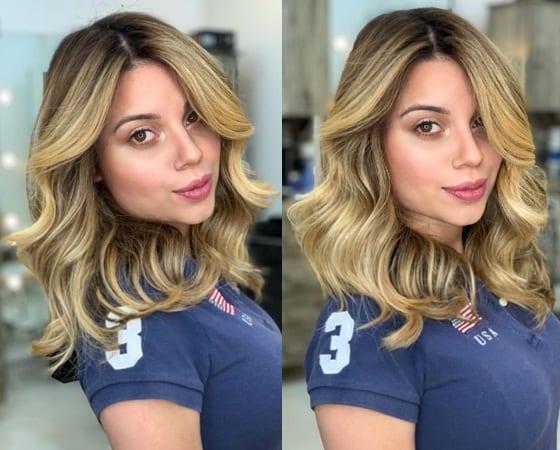 Golden Balayage on Medium Hair