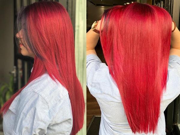 Red Balayage on Long Hair
