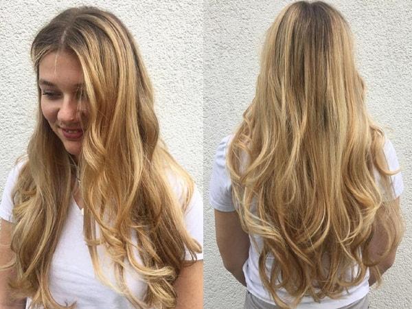 Golden Balayage on Long Hair