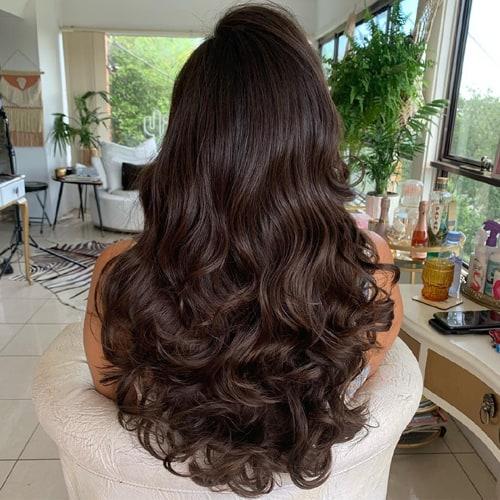 Chocolate Brown Balayage with Long Hair