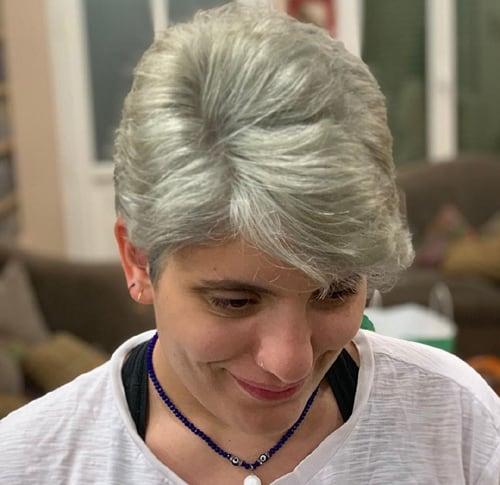 Grey Balayage with Short Hair