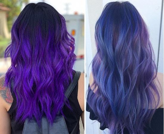 Purple Balayage on Long Hair