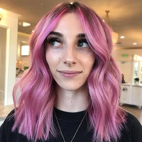 Pinka Balayage on Medium Hair