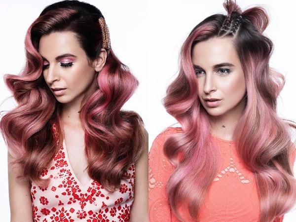 Pink Bakayage on Long Hair
