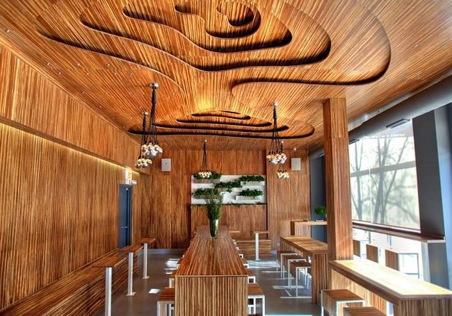 Wooden Ceiling Design for Shop