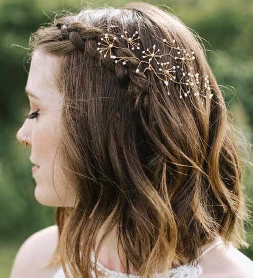 Semi Braided Medium Wedding Hairstyle