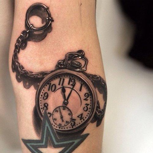 3d clock Tattoo designs