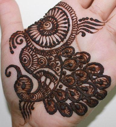 Palm Peacock Mehndi Design