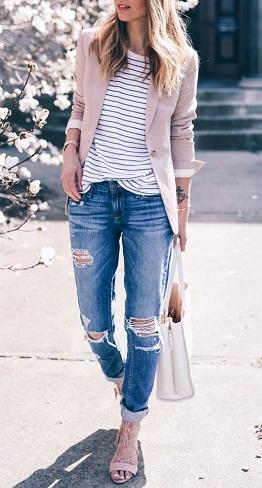 Boyfriend's Style Cream Color Blazer