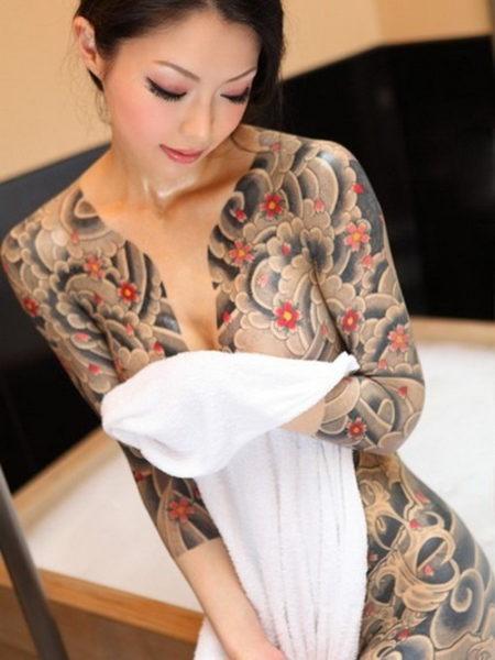 Floral Full Body Tattoo Design