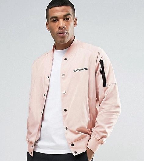 Pink Collarless Blazer Men