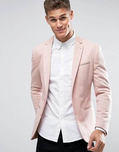 Pink Casual Blazer Men