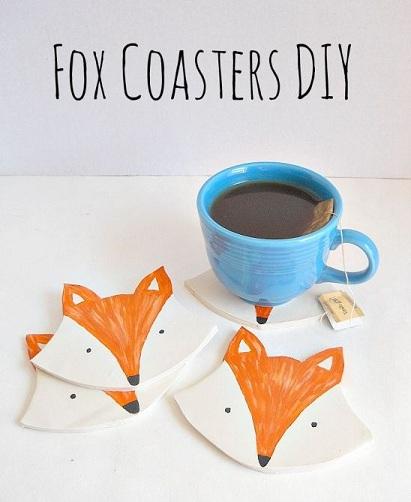 Fox Clay Coasters