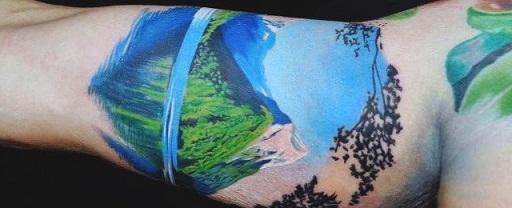 Nature Inspired Bicep Tattoo Design