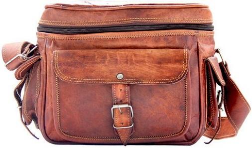 Crafts Vintage Leather Brown Travel Camera Bag - Men & Women -12
