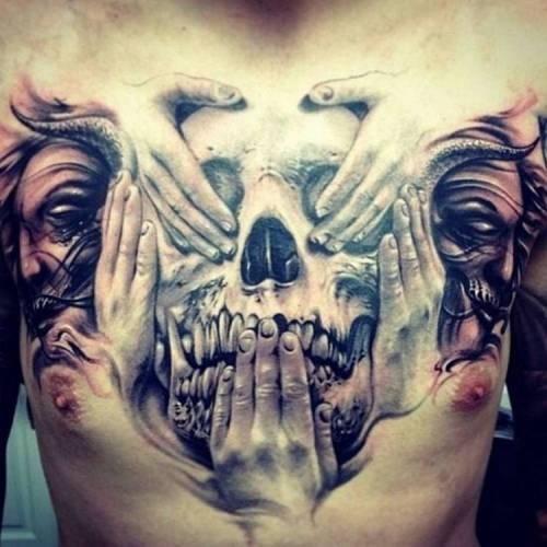 No Evil Tattoo on Chest