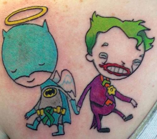 A cartoonish batman and joker tattoo