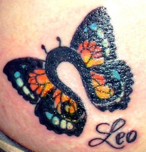 Leo Butterfly Tattoo