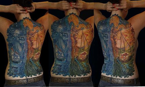 Libra Back piece Tattoo