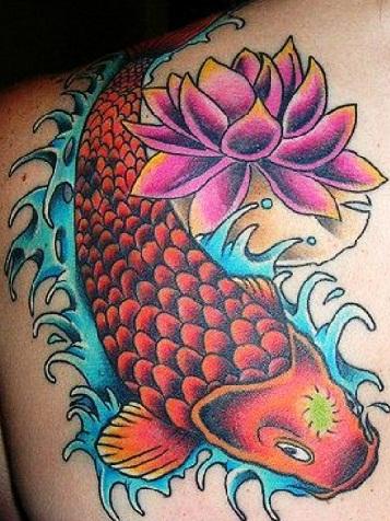 fish-lotus-tattoo-design