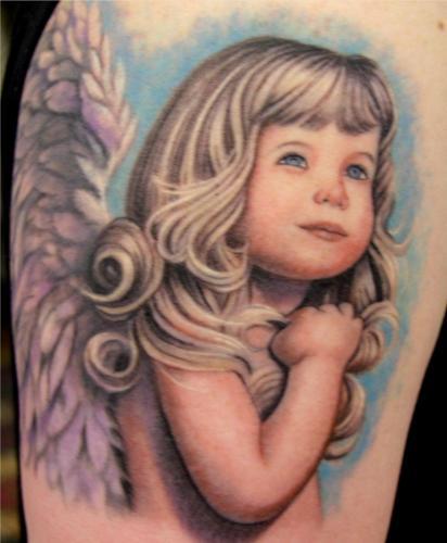 Angel Portrait Love tattoo on arm