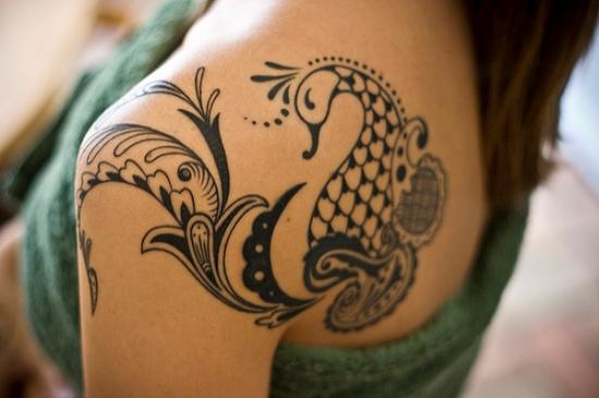 Black Peacock Tattoo For Women