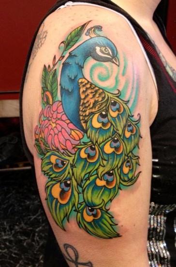 Multi-Color Peacock Shoulder Tattoo