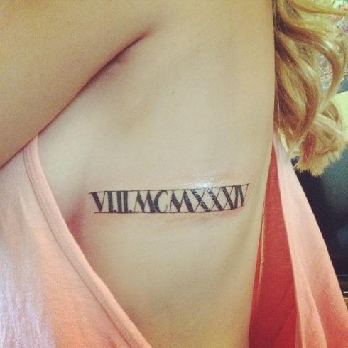Sparkling Roman Numeral Tattoo Design