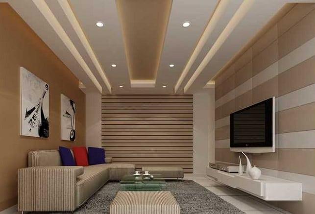 False Ceiling Design for Rectangular Living Room