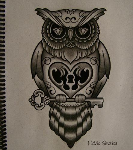 Lock and key owl