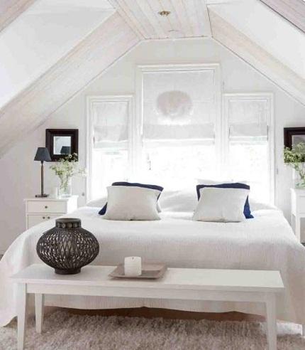 White Attic couple Bedroom