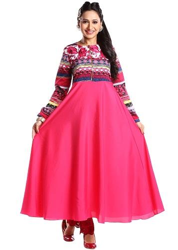 Plain Skirt Churidar Kurti