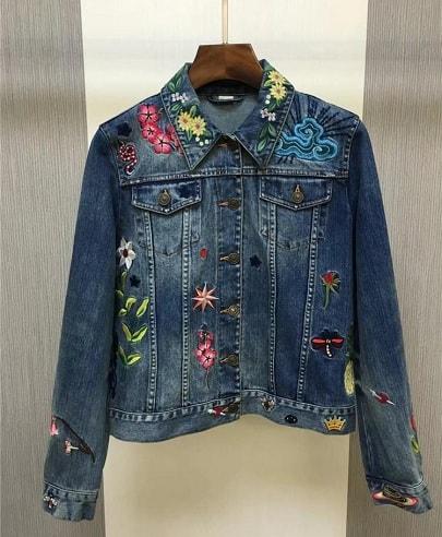 Embroidered Women's Denim Blazer