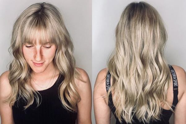 Voluminous Blonde Bangs