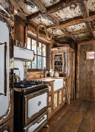 Antique stove installed open kitchen design