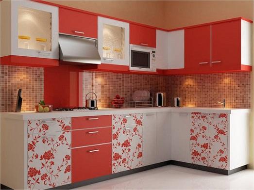 Wallpaper designed Indian open kitchen