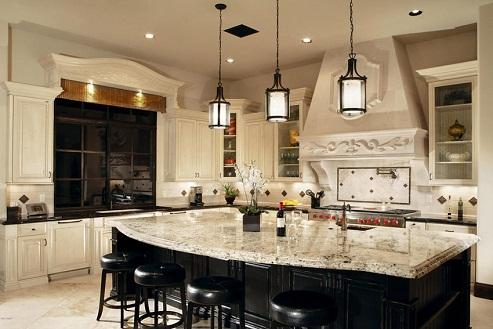 Granite countertop designed open kitchen design