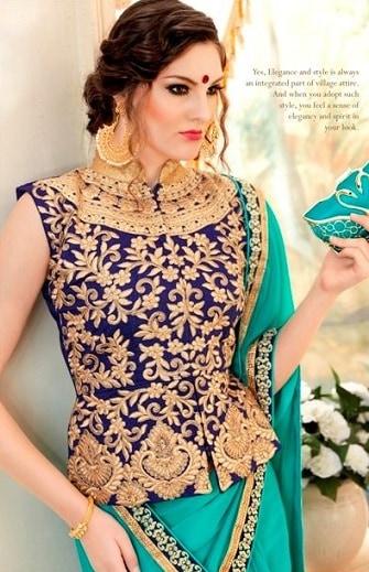 High Collar Wedding Long Length Blouse