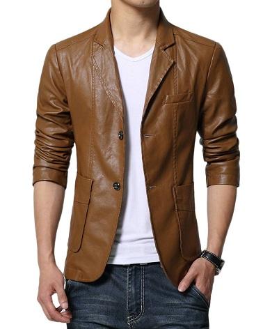 Men's Leather Blazer Slim Fit