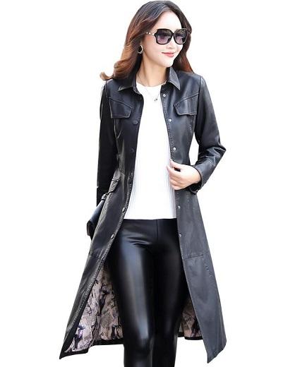 Long Leather Blazer Women
